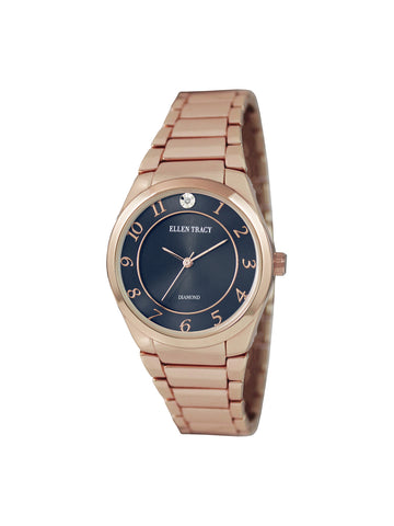 Rose Gold Tone Crystal Blue Dial Watch