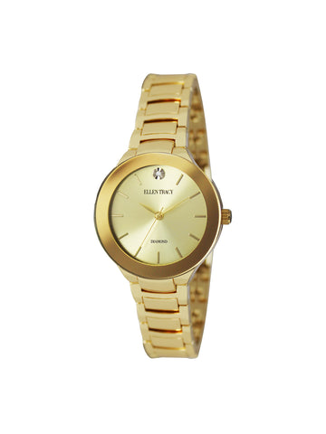 Gold Tone Crystal Dial Watch