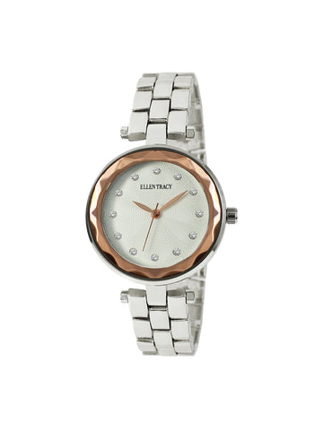 Two Tone Cut Glass Crystal Stone Dial Watch