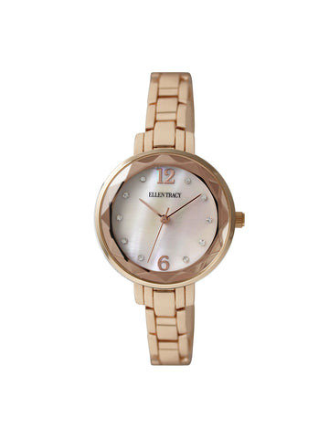 Mop Stone Index Dial Rose Gold Tone Bracelet Watch