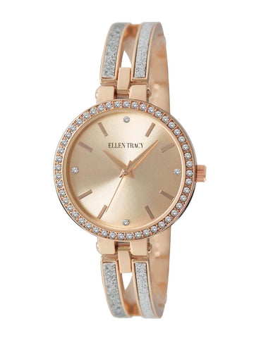 Rose Gold-Tone Stone Bracelet Watch