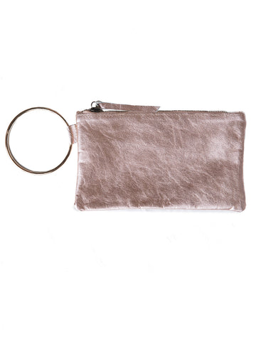 Fozi Wristlet In Rose Metallic