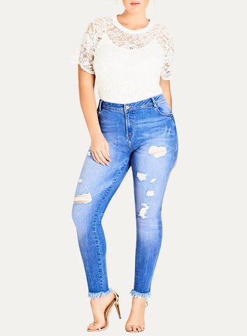 Light Indigo Fray Denim Jean