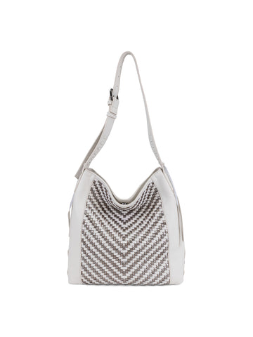 Aisha Shoulder Bag In Blanco And Metallic