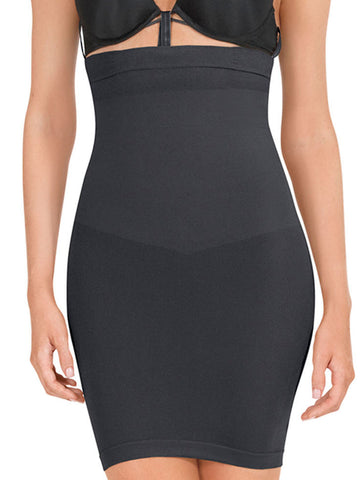 Seamless High Waist Slip Shaper In Black