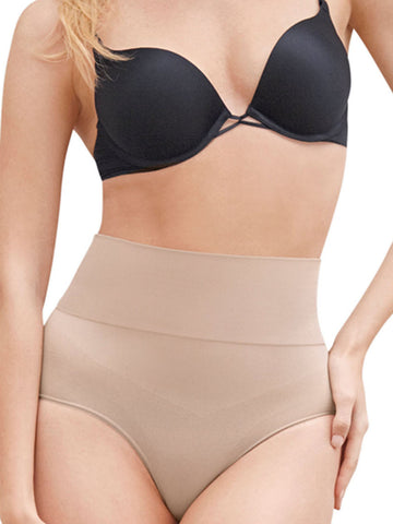 Seamless Mid Waist Thong Shaper In Nude