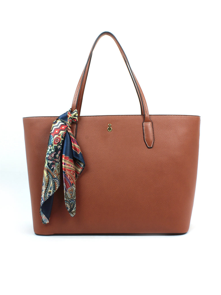 Stafford Tote with Scarf In Cognac