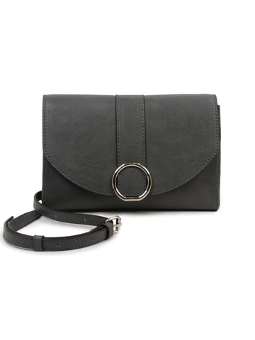 Ellie Crossbody Wallet In Dark Grey