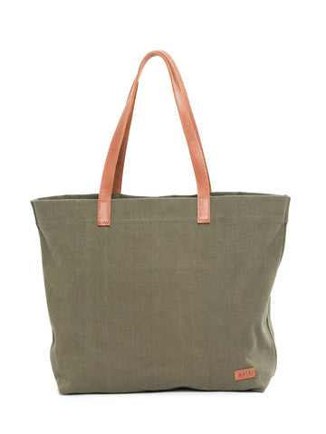 Mamuye Canvas Tote In Olive And Chestnut