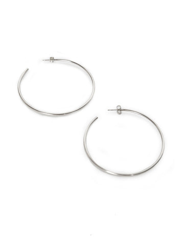 Primary Hoop Earrings In Silver Tone
