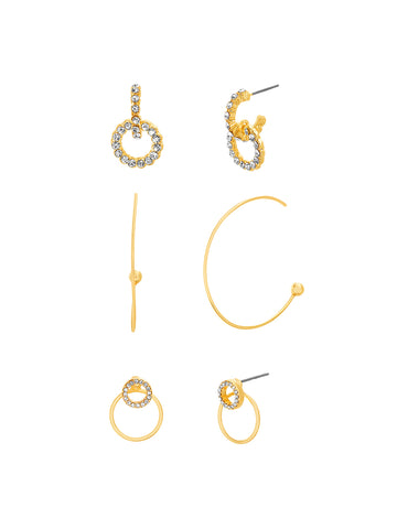 Crystal Circle Mix Media 3-Piece Earring Set