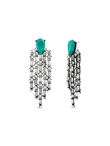 Teal Teardrop Stone Clear Crystal Chandelier Dangle Post Black Earrings