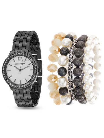 Studded Link Band Analog Black Watch and 5-Piece Bracelet Set