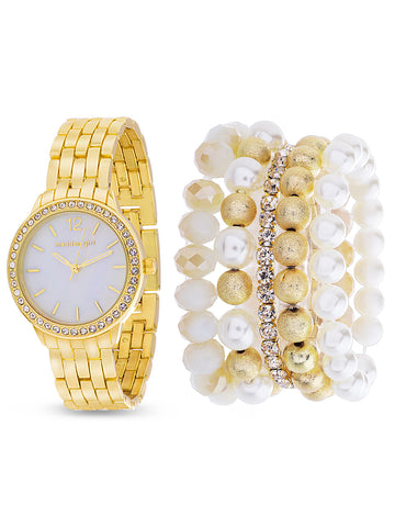 Rhinestone Border White Dial Analog Watch and 5-Piece Bracelet Set