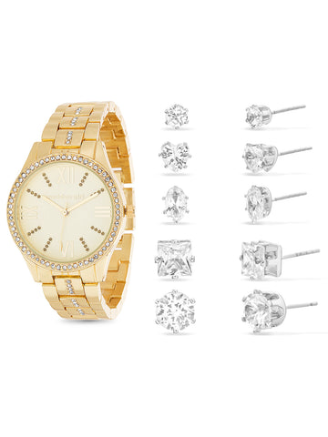 White Rhinestone Analog Watch and 5-Piece Earring Set In Gold