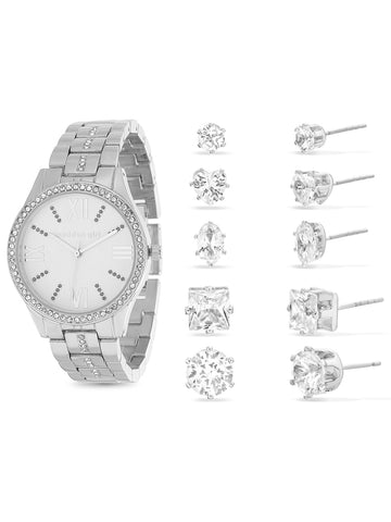 White Rhinestone Analog Watch and 5-Piece Earring Set In Silver