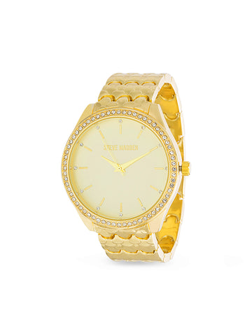 White Rhinestone Bezel Scallop Link Analog Watch In Gold