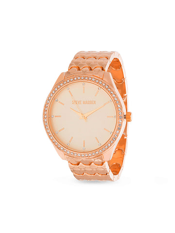 White Rhinestone Bezel Scallop Link Analog Rose Gold Tone Watch