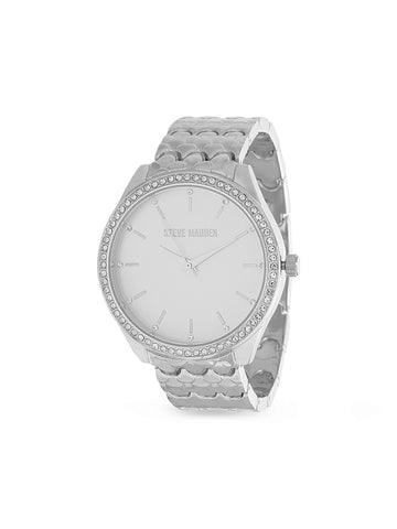 White Rhinestone Bezel Scallop Link Analog Watch In Silver