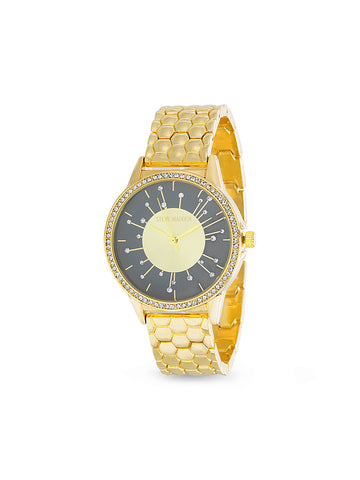 White Rhinestone Starburst Hexagonal Linked Band Watch