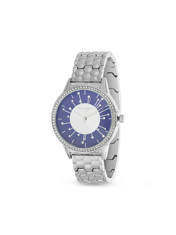 Starburst White Rhinestone Hexagonal Linked Band Watch