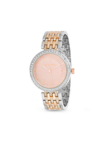 White Rhinestone Pink Dial Link Watch