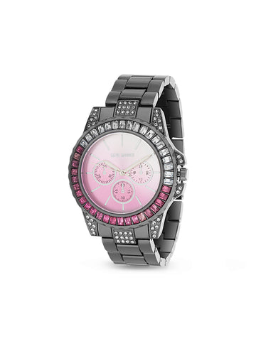Pink Ombre Rhinestone Link Band Black Watch