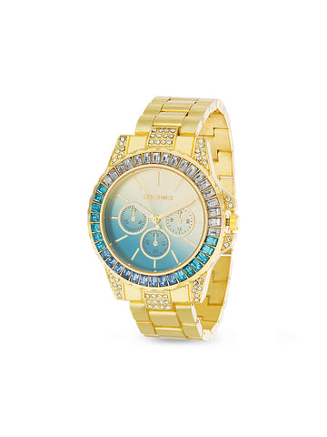 Blue Ombre Rhinestone Link Band Watch