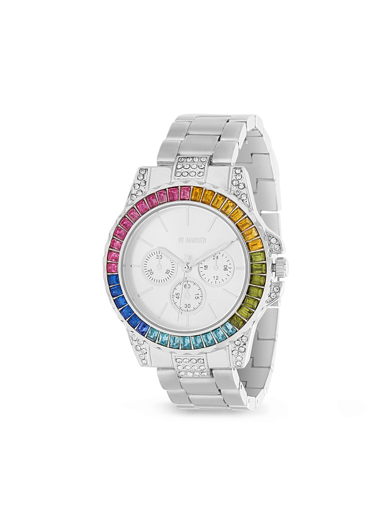 Rainbow Baguette Shaped Rhinestone Link Band Watch