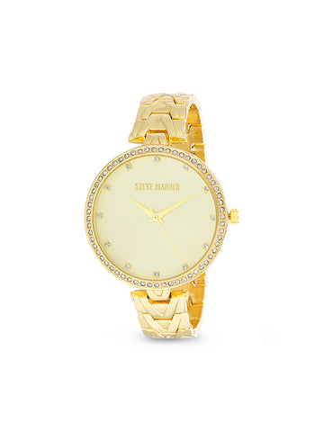 White Rhinestone Bezel Skinny Chevron Link Band Watch In Gold
