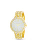 White Rhinestone Embellished Bezel and Link Watch In Gold