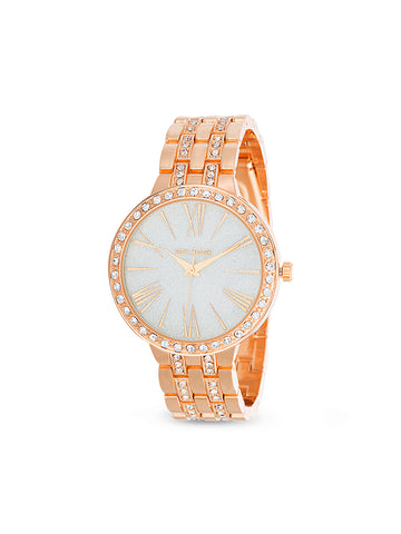 White Rhinestone Embellished Bezel and Link Watch
