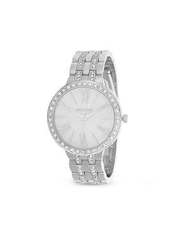 White Rhinestone Embellished Bezel and Link Watch In Silver