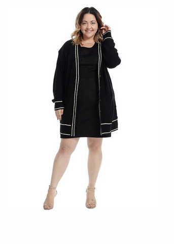 Long Sleeve Button Front Black Cardigan