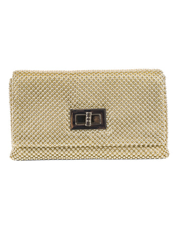 Ball Mesh Clutch In Light Gold