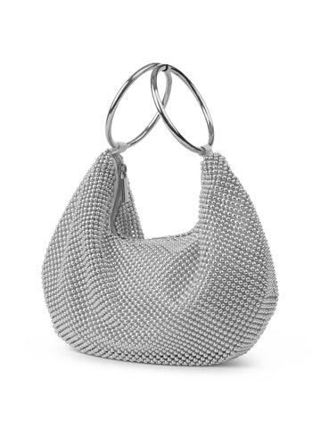 Sarah Hobo Ring Clutch In Silver