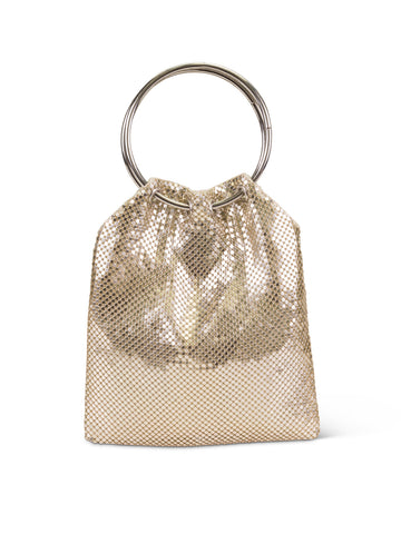 Thea Ring Handle Pouch In Light Gold