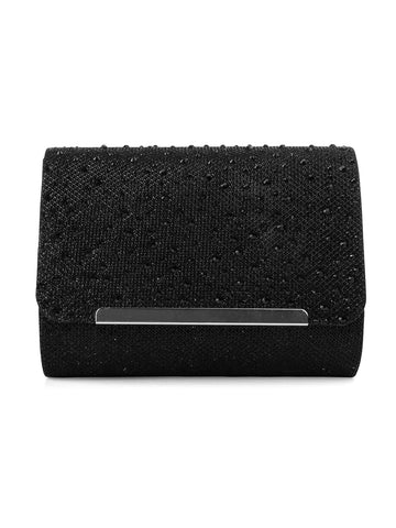 Katie Glitter Clutch In Black