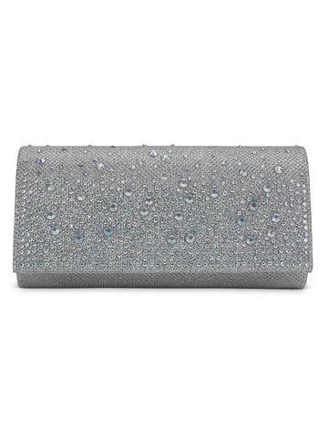 Chloe Glitter Clutch In Silver