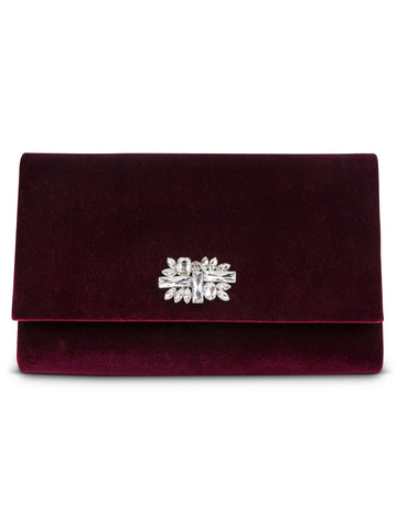 Nora Velvet Clutch In Wine