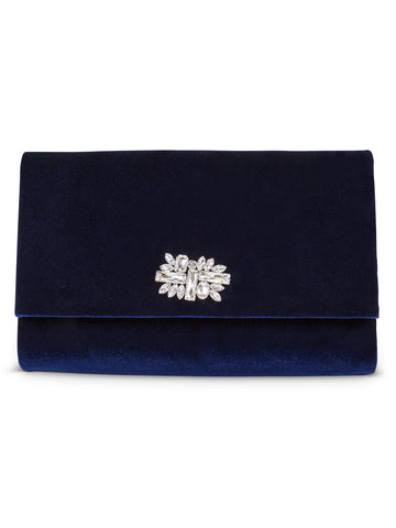 Nora Velvet Clutch In Navy