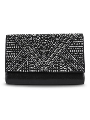 Nora Stud Envelope Clutch In Black
