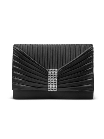 Alexis Satin Clutch In Black