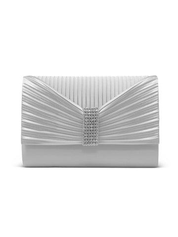 Alexis Satin Clutch In Silver
