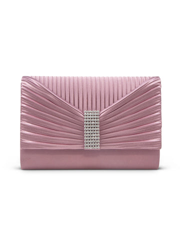 Alexis Satin Clutch In Dusty Lilac