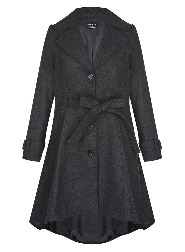 Frill Back Coat In Charcoal