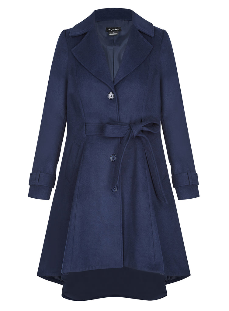 Frill Back Coat In Navy