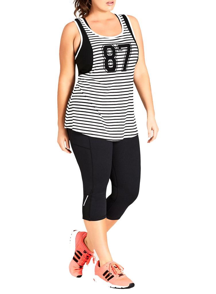 Mesh Tank With Stripes