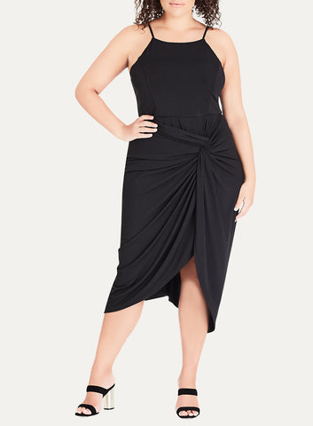 Athena Drape Dress In Black