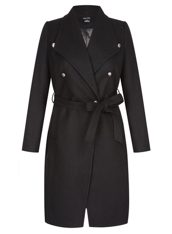 Sassy Military Coat In Black